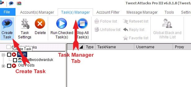 Create TweetAttacks Pro task