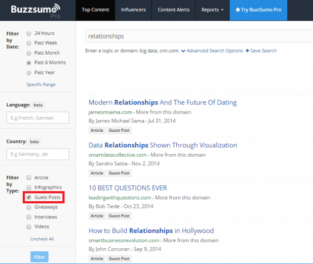 buzzsumo filter option for guest posting