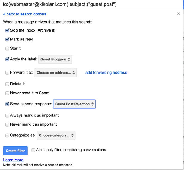 gmail filters trick