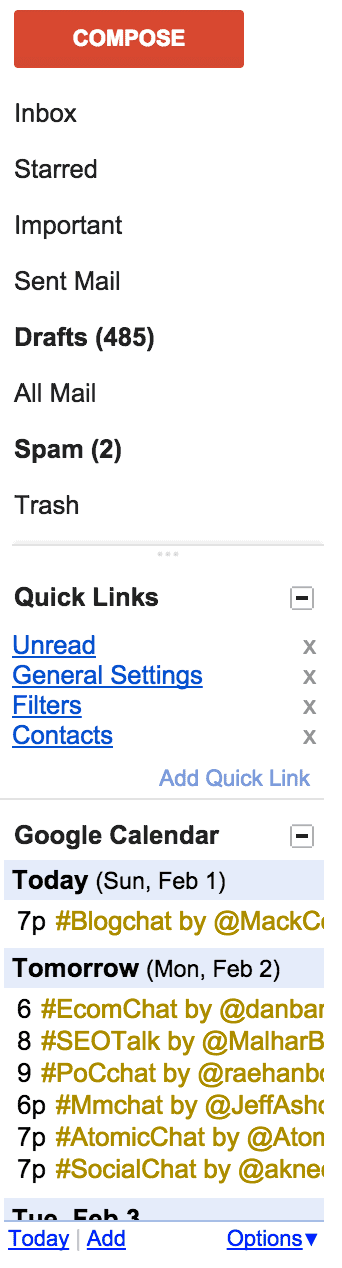 gmail tools quick links