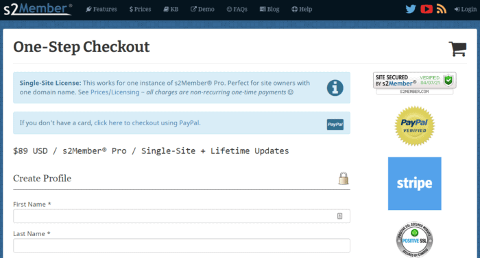 S2 Member Plugin Checkout Page