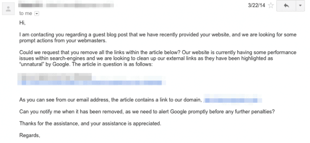 how to remove bad backlinks with a link removal request