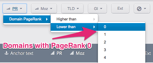 domains with pagerank zero