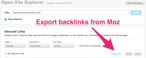 export links from moz