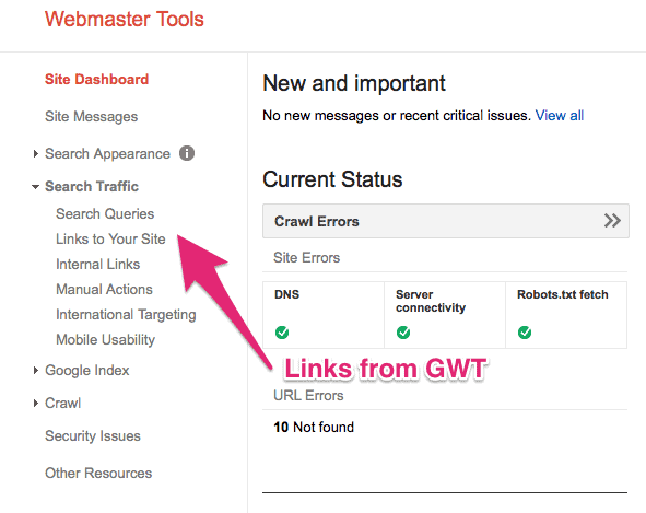 links from Google Webmaster Tools