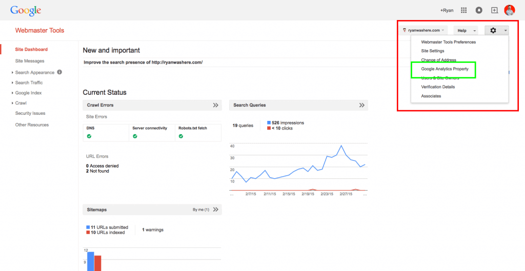 matthew google search console setup