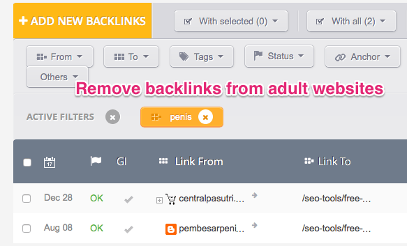 remove backlinks from adult websites with a backlink audit