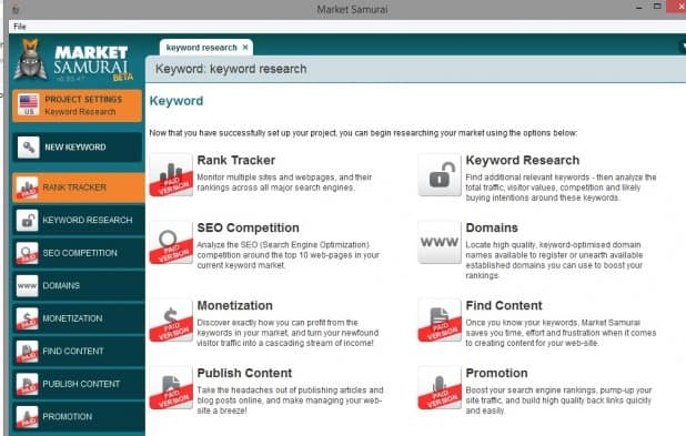 MarketSamurai keyword research tool free trial