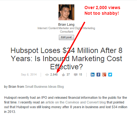 Hubspot Article on LinkedIn for traffic generation