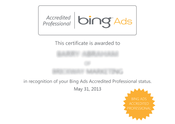 bing ads digital marketing certification