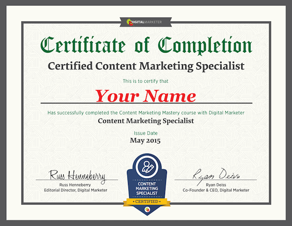 digital marketer content certification