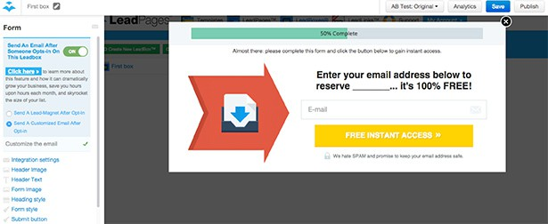 This is how popup form editor looks in LeadPages