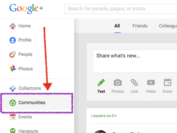 Google Plus Find Communitys
