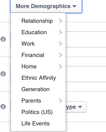Facebook more demographics tab