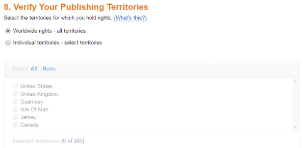 Amazon KDP Select Publishing Territories