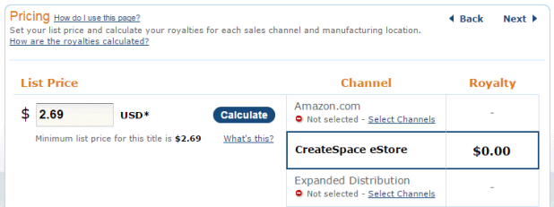 Pricing CreateSpace eStore