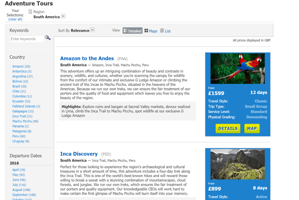 STA Travel site example