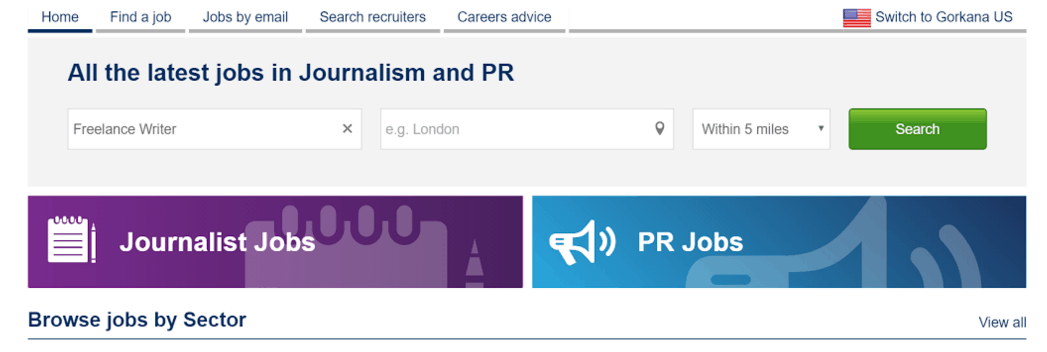 Gorkana jobs home page
