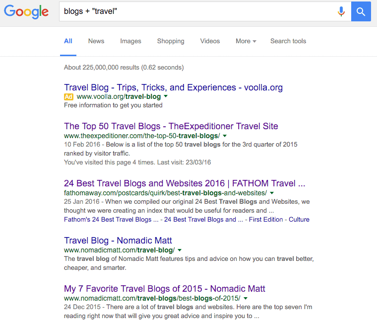 travel blog Google search