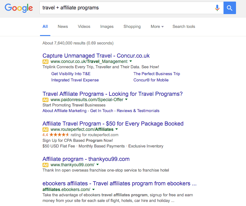 travel affiliate program Google search