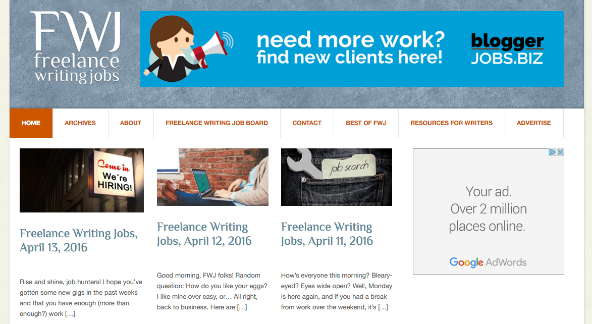 freelance writing jobs home page