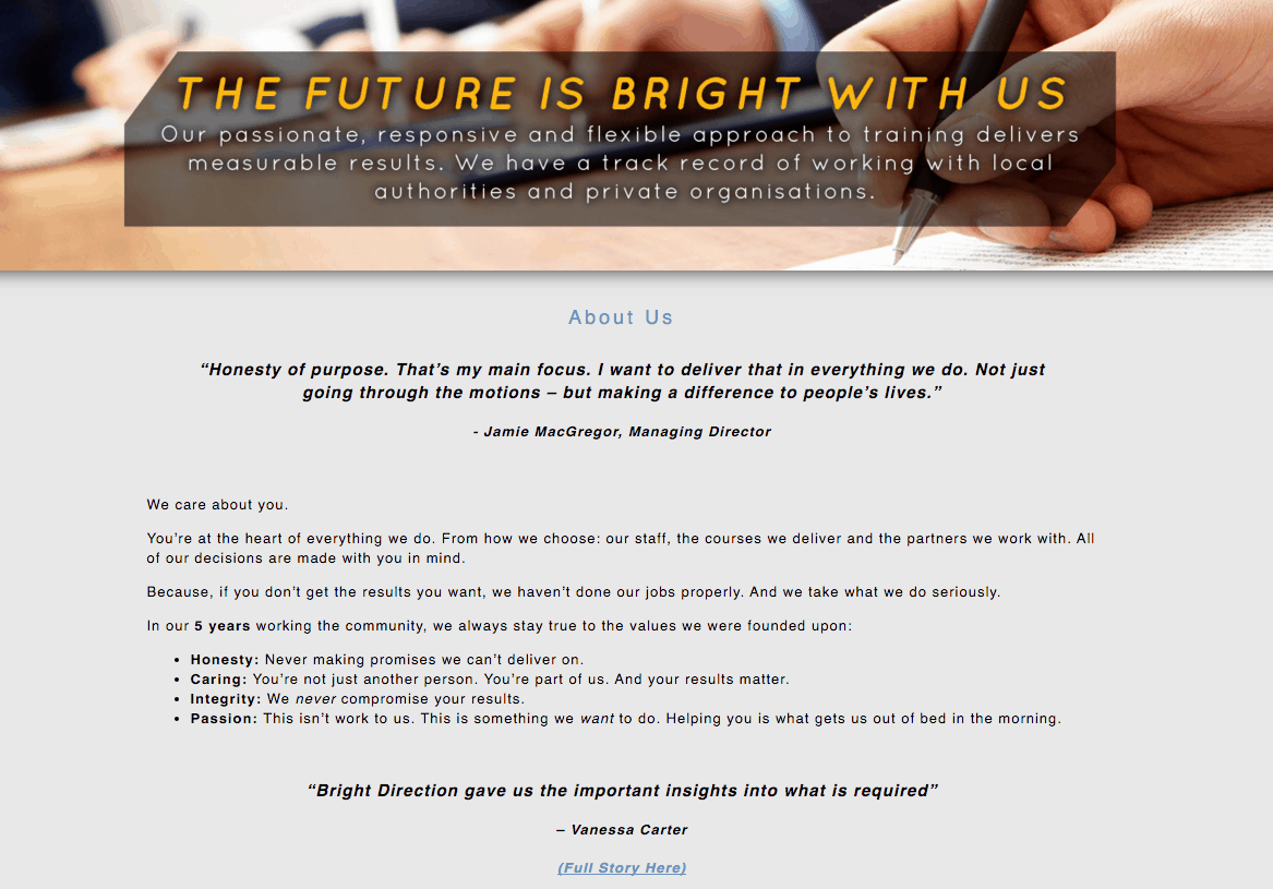 website copywriting example
