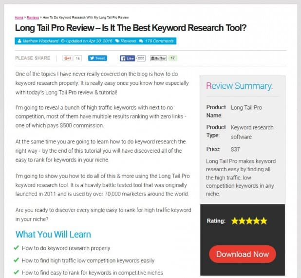updated long tail pro review post layout