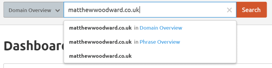 domain overview dropdown