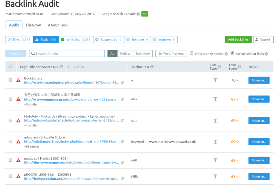 semrush backlink audit