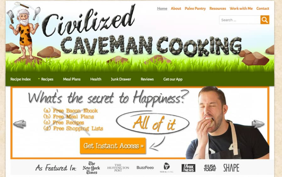 caveman cooking site