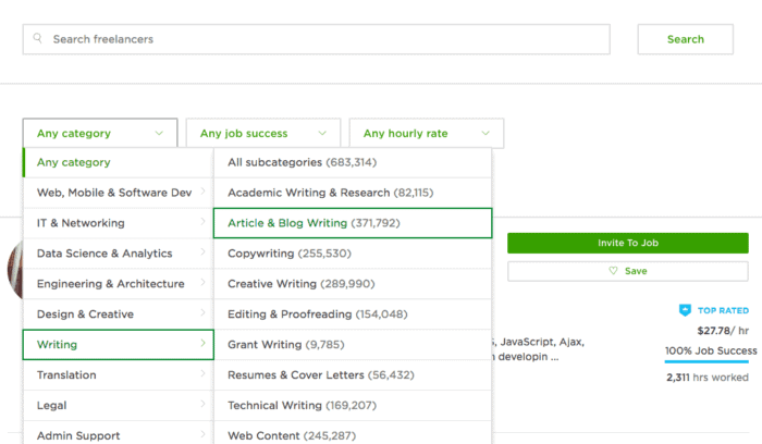 upwork search freelancers screen