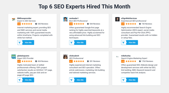 freelancer top six seos