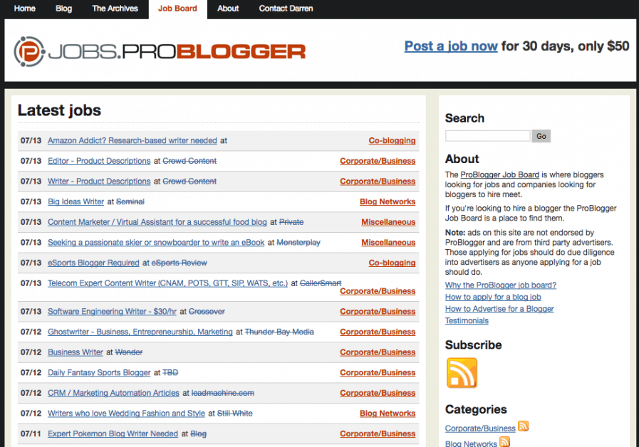 problogger jobs screenshot