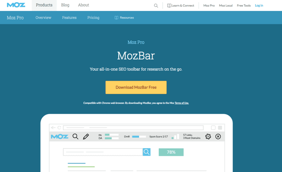 mozbar download screen