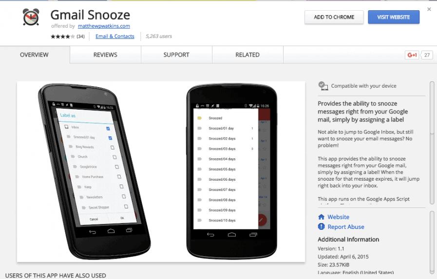 google snooze page