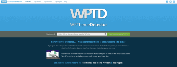 wordpress theme detector page