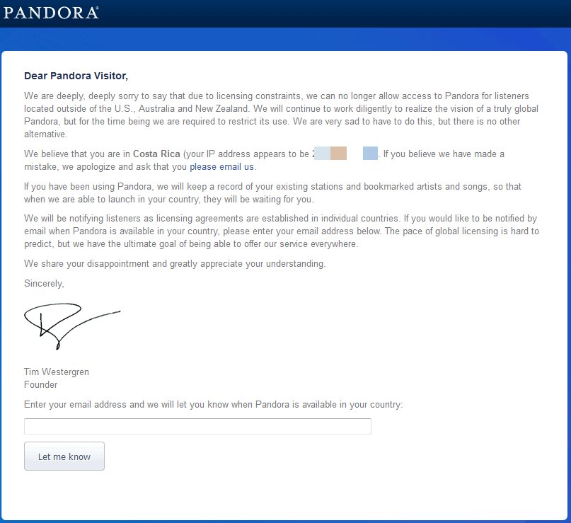 pandora rejection