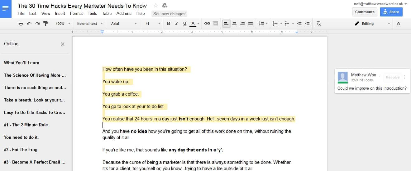 Google docs content creation