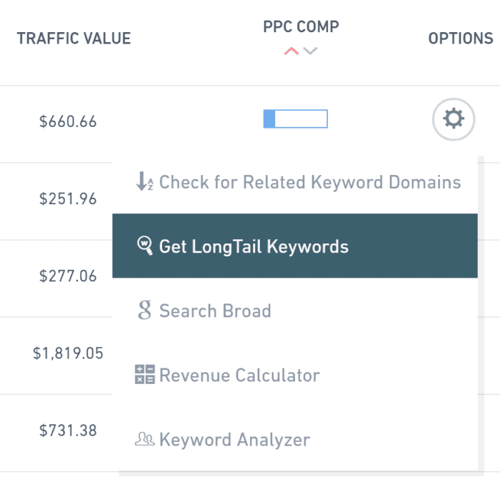 get longtail keyword options