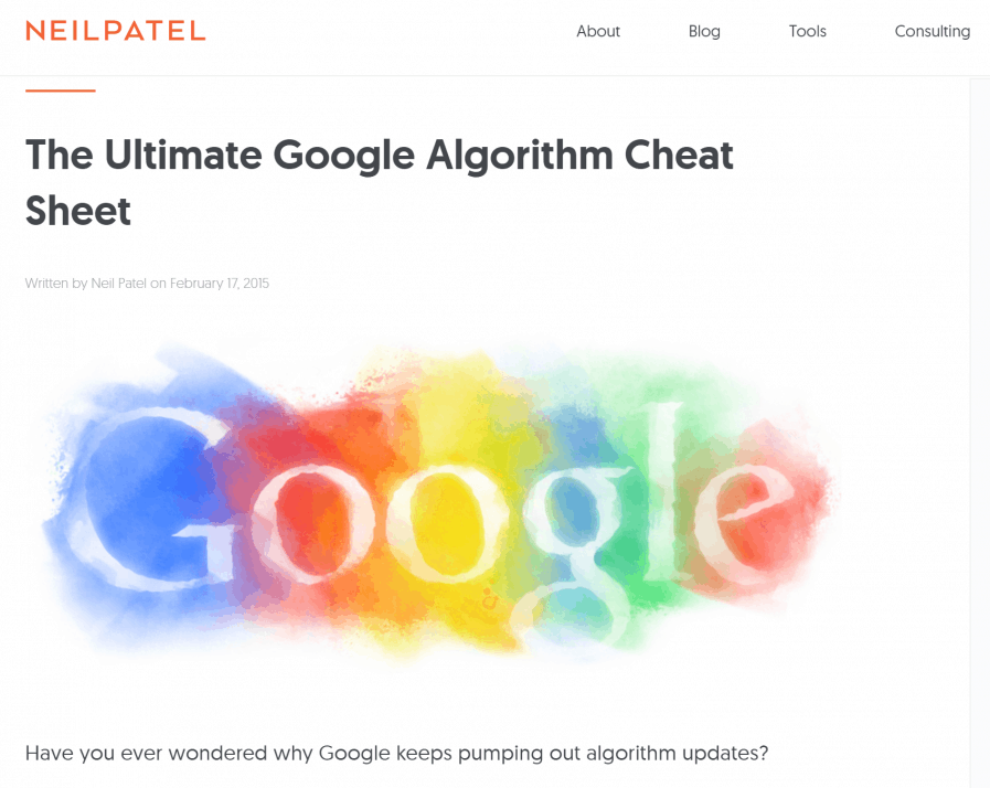 neil patel google cheat sheet