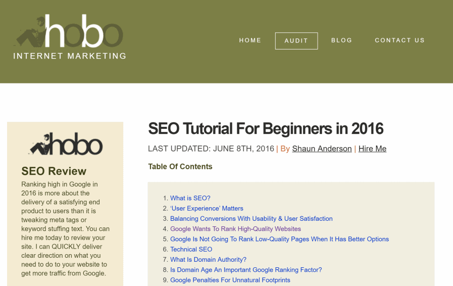 hobo web seo tutorial for beginners