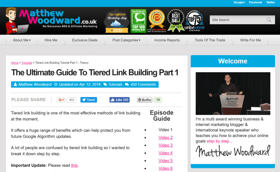 matt woodward tiered link building guide