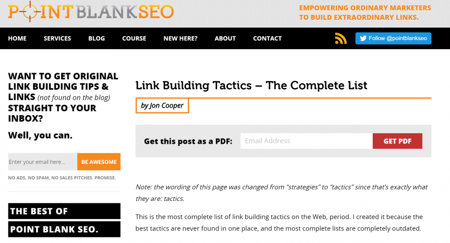 point blank seo tactics link building