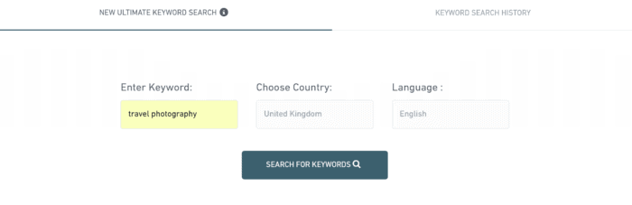 travel photography keyword search