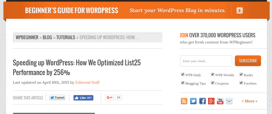 wordpress site speed