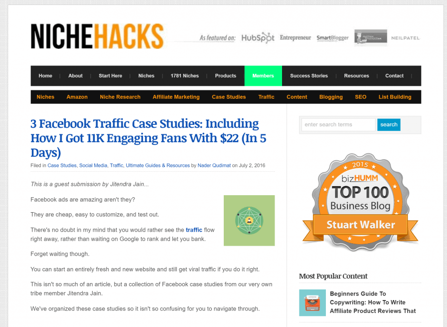 nichehacks facebook traffic case studies