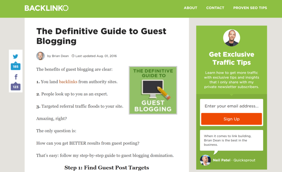 backlinko definitive guest blogging