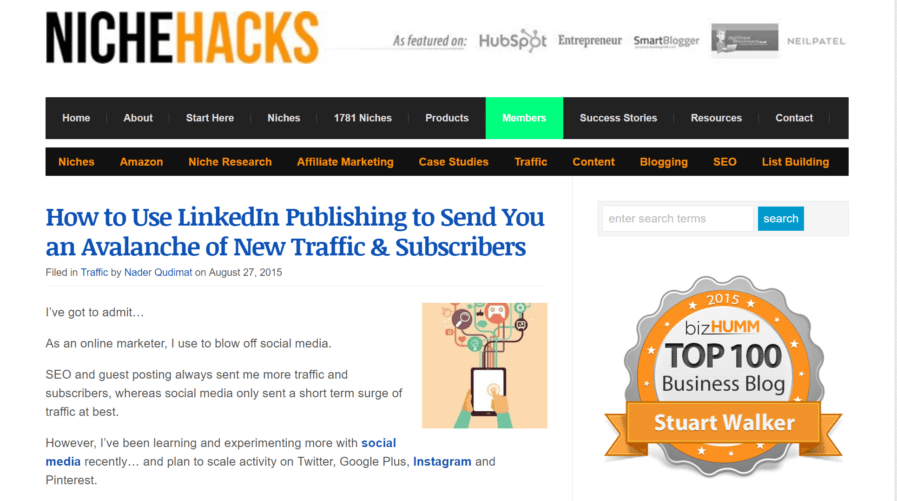 nichehacks linkedin traffic
