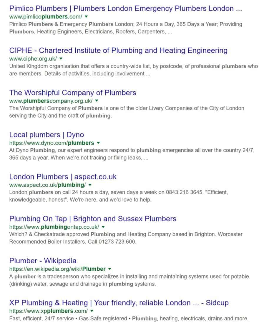 plumbers uk search