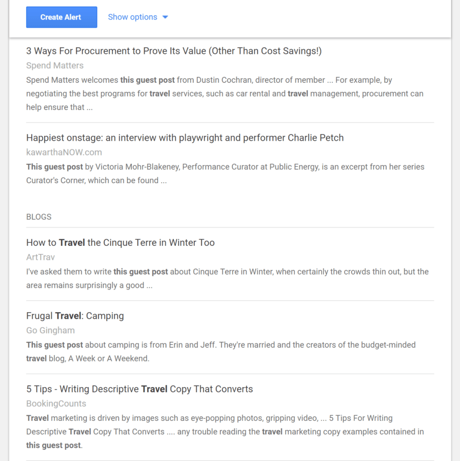 Google Alerts set up process